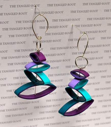 paper drop earrings in turquoise and purple