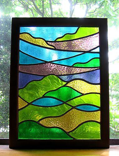 5.24ステンドグラス「蓼科の山々」02.3.2制作 46cmx61cm by Poran111