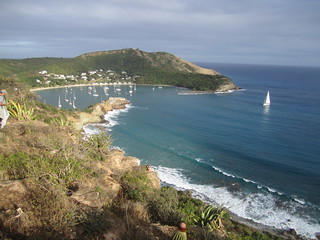Sailboat approaching English Harbour, Antigua