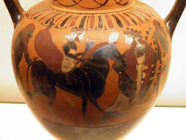 Black-figured neck-amphora (jar): Dionysos leads Hephaistos back to the Mount Olympos, Greeks in Italy (Room 73), British Museum