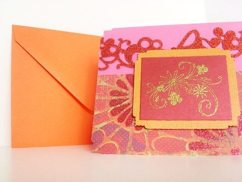 Bright Summer Hot Pink, Red, Orange, Gold Flower All-Occasion Greeting Card