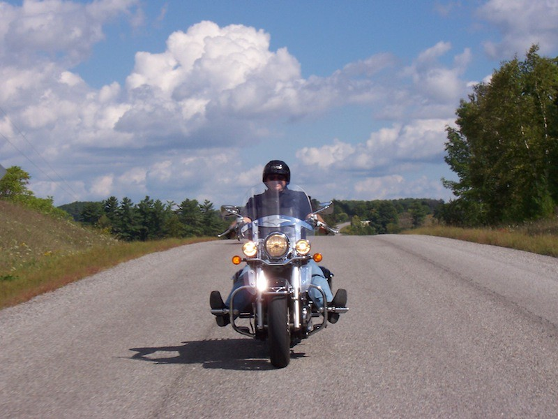Motorcycle rider in Ottawa's countryside