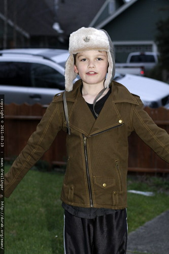 nick's new coat and hat from downtown arcata