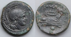 43/5 var. Luceria L Uncia. Roman mint. o / Roma; ROMA / Prow, narrow angled stem, 5 mariners on deck / o no mintmark. AM#1134-60, 5g97