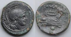 43/5 var. Luceria L Uncia. Roman mint. o / Roma; ROMA / Prow, narrow angled stem, 5 mariners on deck / o no mintmark. AM#1134-60, 5g97
