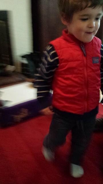 Eskil wearing his 'robot'
