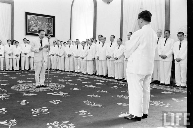 Saigon July 01, 1961 - Vietnam Pres. Ngo Dinh Diem receiving good wishes at Presidential Palace on 7th anniversary as president