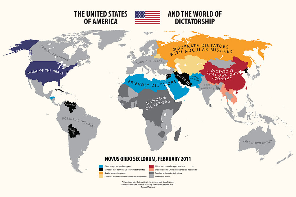 How America Sees The World Map.The United States Of America And The World Of Dictatorship Flickr