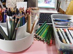 Before organizing my pencils/markers/pens