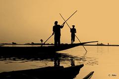 sea, silhouette, fisherman,
