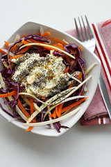 Red Cabbage, Carrots and Eggs Mayo