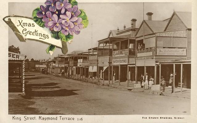Christmas postcard of king street raymond terrace nsw for C kitchen raymond terrace