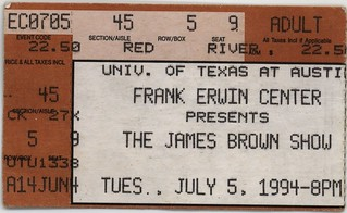 James Brown Ticket Stub