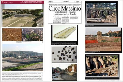 Roma Archeologia - Nuovi scavi al Circo Massimo, Anche al Circo Massimo una curva sud svelati i misteri dell'antico stadio. LA REPUBBLICA ed. ROMA (01/02/2011), pg. 53.