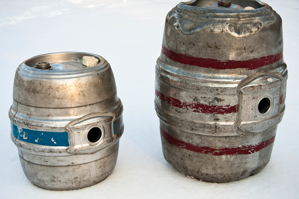 image of a Pin (left) and Firkin (right) sourced, through Creative Commons, from anotherpintplease's Flickr account
