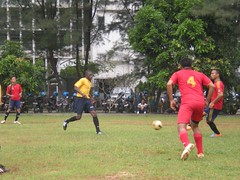 JAKARTA, Indonesia (Feb. 22, 2011) Seaman Awini, assigned to USS Reuben James (FFG 57), competes in a soccer match against the Tentara National Indonesia (TNI) Navy soccer team. (Official U.S. Navy photo)