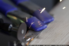 sparks flying from the dremel