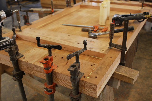 Clamping solid wood together to make a 3 dining table top flickr photo sharing - Building furniture out of reclaimed wood ...