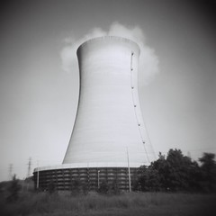 white, line, monochrome photography, cooling tower, monochrome, black-and-white, power station, black,