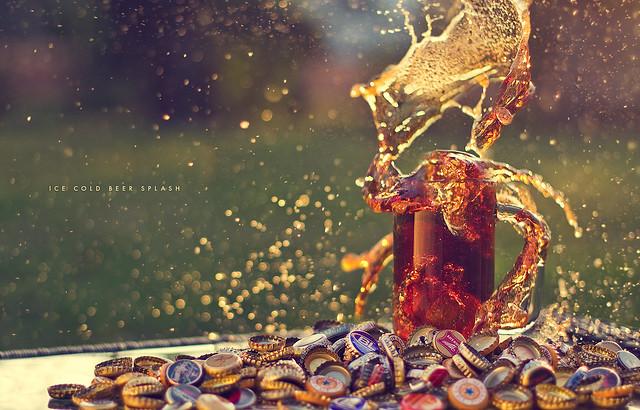Ice Cold Beer Splash - Beautiful Bokeh Photography