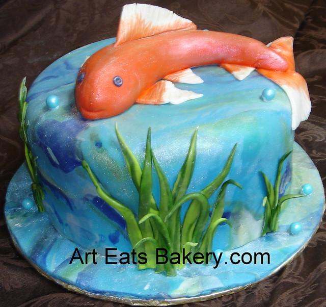 Koi pond fondant birthday cake Flickr - Photo Sharing!