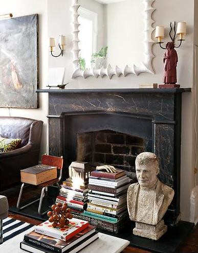 Eclectic mix in the living room + Benjamin Moore 'Revere Pewter'