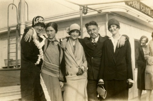 Cloche-Clad Flappers on Board the Steamship John Cadwalader, 1920s
