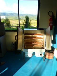 A Cookswell charcoal pizza oven at the Ubuntu Cafe, Mai Maihiu.