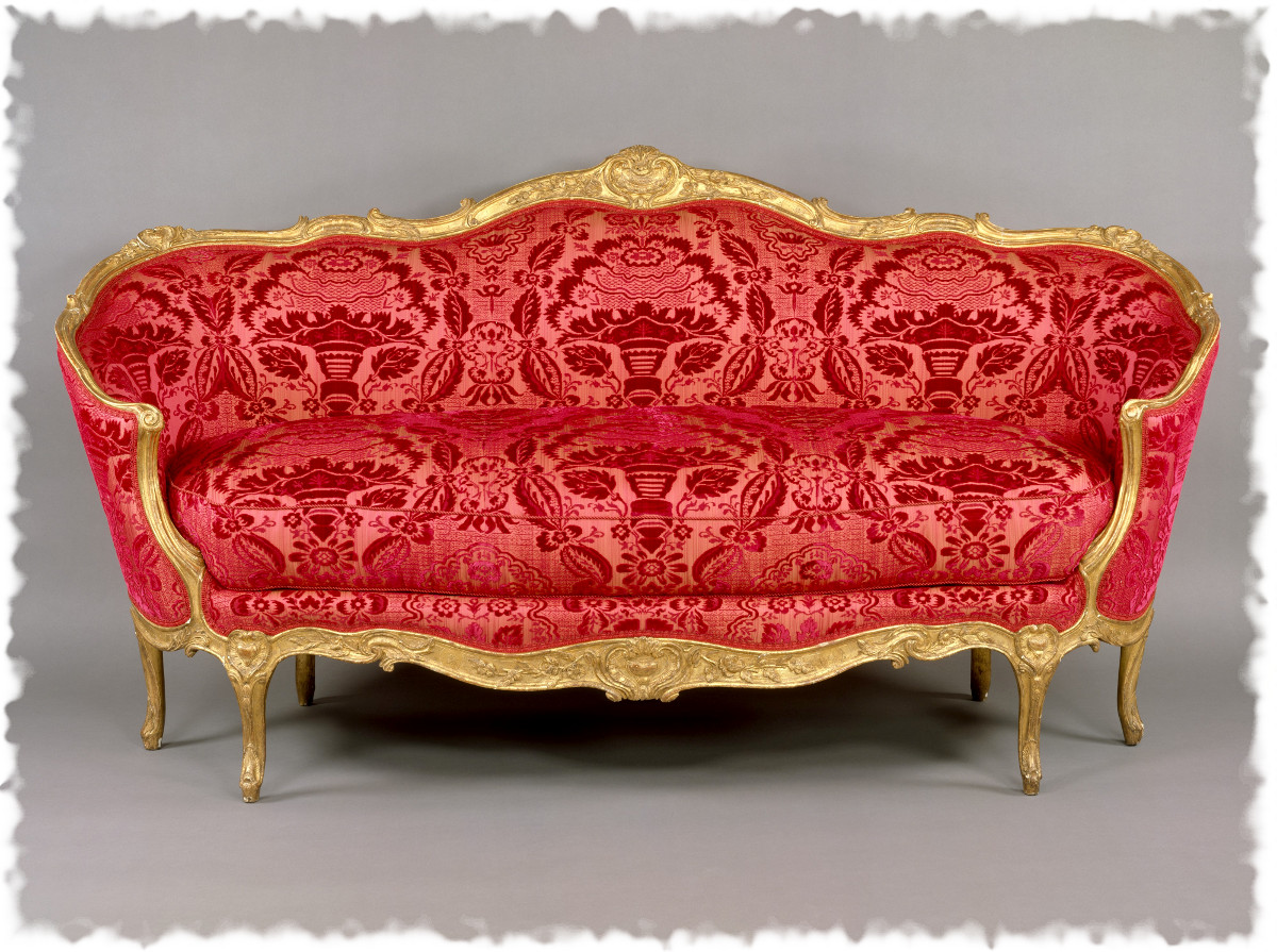 1760 Sofa. French. Carved and gilded beechwood, upholstered in modern red velours de Gênes. metmuseum