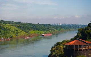 Paraguay River and Ciudad Del Este (Paraguay) from Puerto Iguazu, Argentina, Jan. 2011