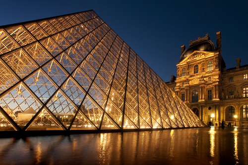 France - Paris - Louvre Pyramid at Dusk 09