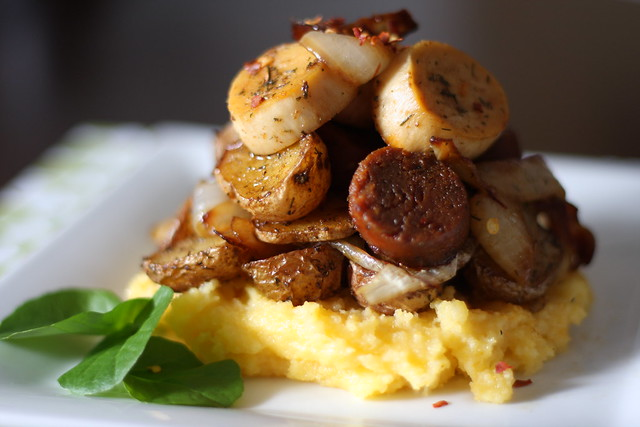 Field Roast, Oyster Mushrooms and Tiny Potatoes Over Polenta