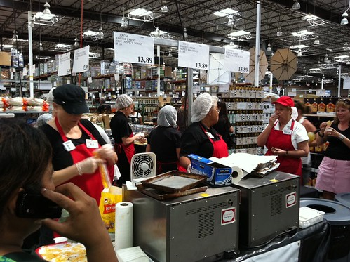 Superbowl snackfest sample chaos at costco