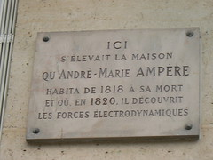 Photo of André-Marie Ampère stone plaque
