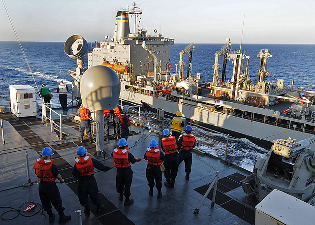 Replenishment Caribbean: Sailors Aboard USS Ashland Handle Lines During