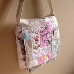 Bag Mixed fabric collage and embroidery3