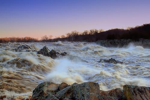 danger sunrise river dawn virginia flood greatfalls rapids potomac