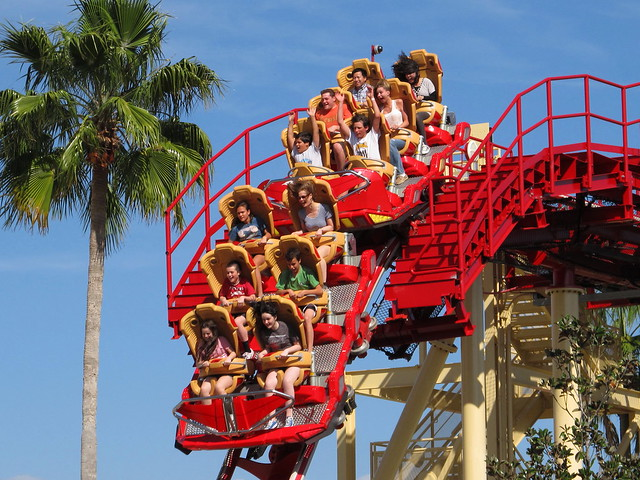 Vintage Backyard Roller Coaster : Hollywood Rip Ride Rockit  Last drop before reentering the