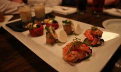 Shrimp, Salmon, Black Angus Tartar, Mushroom Soup