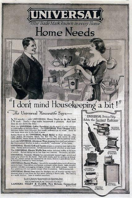 1920 Home Appliance Advert: Universal Appliances, New Britain CT