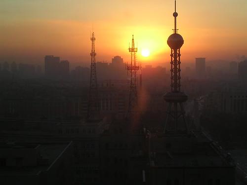 china city panorama skyline sunrise alba changchun cina jilin manciuria