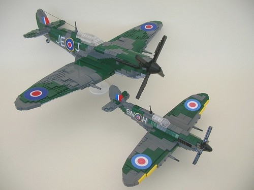 Lego Spitfire Mk IX (little and large)