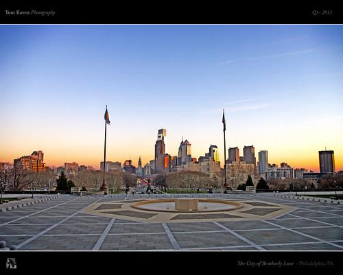 city light sunset sky usa philadelphia skyline museumofart cityscape skyscrapers pa philly hdr tomraven aravenimage q12011 tomraveninamerica