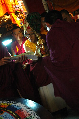 Dagchen Rinpoche leading Sakya Lamdre, masters of ceremony assisting him in the blessing of the gold and silver vase of nectar, Shri Hevajra Empowerment into practice end of the initation, Tharlam Monastery of Tibetan Buddhism, Boudha, Kathmandu, Nepal by Wonderlane