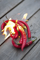 Burned chili peppers