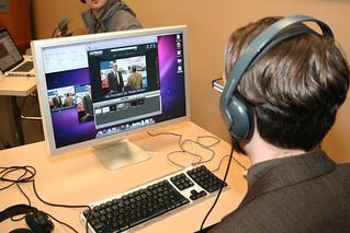 Johnny Blakeborough checks video streaming link