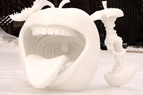 Creepy Apple Snowman