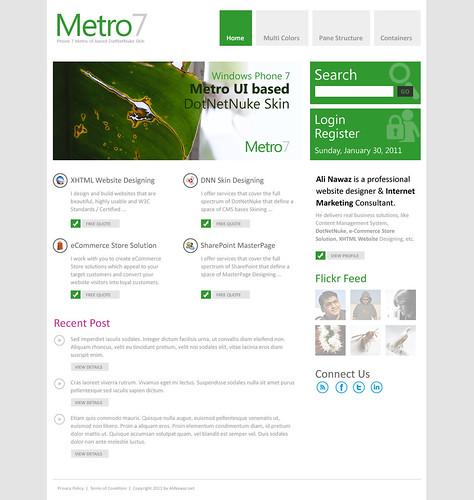 Microsoft Phone 7 Metro UI based DNN Skin