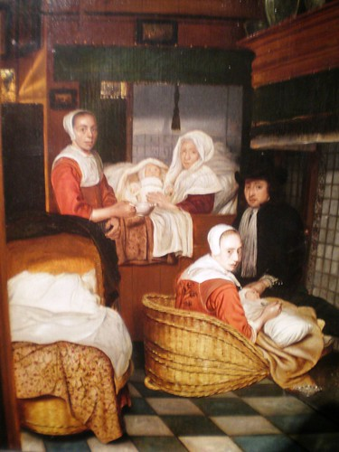 Esaias Boursse 'An Interior with a Family and Two Nurses before a Fire', ca. 1660, The Grohmann Museum, 'Man at Work' collection, Milwaukee, Wisconsin