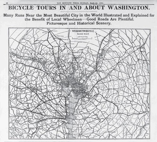Washington DC Bicycle Map, 1896